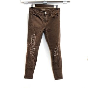 American Eagle Distressed Red Brown Jeggings